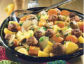 boulettes-de-viande-sur-poelee-de-legumes